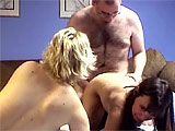This amateur scene has Ava Monroe and Vixen the midget teaming up to fuck the hairy geek.  They suck his little dick and Ava climbs on for some 69.  Vixen goes first getting fucked and Ava licks her pussy at the same time.  They switch up positions and the guy nuts in Vixen's mouth.