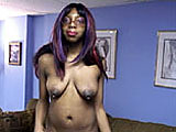 This is the casting couch video for ReVay.  She is an ebony amateur from New York that is relatively new to the biz.  This chick looks like she tripped and fell down the stairs carrying a tackle box with her nine piercings.