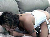 This amateur scene has Stephanie giving the geek a lap dance.  He plays with and sucks on her black tits, and then she gets him undressed.  Stephanie slurps on his dick, sucking him to completion and swallowing his load.
