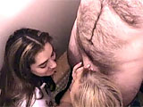 Kylie Simone and Tiger corner Logan in the men's room. They give him a blowjob to completion and drink down his cum.