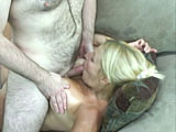 In this scene, BBW girl Liisa is so horny that she is willing to give a blowjob to a hairy geek.  Not sure how this helps her out too much, but kudos to the geek for getting his dick sucked to completion.