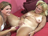 This scene pairs up Crista Lynn and Liisa with a pink jelly dong.  Crista gets Liisaa juices flowing by licking her clit, and then stuffs the dildo in her shaved slit.  Liisa gets her pierced clit licked and she diddles herself while getting fucked with the dildo.