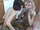 In this scene, Roxanne teaches Amber how to get messy in the kitchen.  They smear sorbet, syrup, and crushed cookies all over each other's bodies, and then take a shower together to clean each other off.