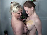 Alexis and Mariah feel like getting sticky. So why not douse one another with multi-colored syrup? It's a rainbow of BBW fun in the shower as these two good-natured broads slather their curvy asses and jiggly tits in purple, red, green and orange syrup. They giggle and rub tits together. Too bad t
