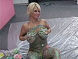 Big, curvy blonde Alexis is about to get messy with food. She uses multi colored sticky goo to slather her ass up first and then moves on to her impressive cans. By the time this clip ends, she's completely coated in sloppy, messy, multi colored food, including a few pies that some horny baker thr