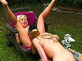 For this scene, Avalon and Salina del Ray are the starring sluts.  After some interview time, these two blonde beauts get it on together outside in chaise.  They eat each other out, and Avalon uses a vibrator on Salina's clit.