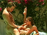 For this scene, Bonita pays the part of tutor for the dumb jock.  These two get together outside at the pool, where Skippy eats Bonita's pussy and asshole.  She returns the favor, giving him a knob job on the side of the pool.  Bonita rides that dick, and takes it deep in her shaved slit until get