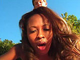 For this scene, Kokoa gets with a white dude outside.  After some random interview, these two get to work.  Kokoa assumes the position on her knees and wraps her plump lips around this guys cock.  He returs the favor and dives in to lick her chocolatey meat curtains.  They fuck in a couple positi