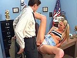 Ashley Long is a tall, young blonde, who hasn't been staying on top of her school work. She offers her hot teen self to her professor. He buries his tongue in her twat first. Then, he buries his hard cock in her tiny shaved clam.