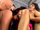This is an excellent threesome scene, with lots of close ups of two chicks seriously digging into each other's whore holes, sucking, licking and teasing for a long time before a dude comes to show them how great his cock is. He rails one from behind while she eats her friend's snatch, then switc