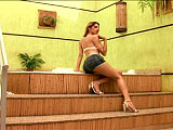 In this scene, TS Bia Bastos is hanging out by the hot tub.  She is joined by a guy, and they trade off giving each other head.  Bia fucks the guy in the ass and shoots her load on his cock.  He strokes his own cock off on his stomach.