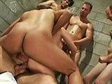 6 guys on 2 whores! Double vag and double anal, It's all in this super hardcore gang bang.