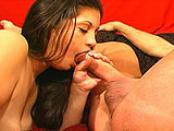 In this scene, Shasta is the featured nasty whore.  She licks asshole and sucks out a load of cum on to her tongue.