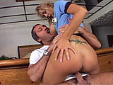 When officer Trina Michaels catches a guy hitchhiking, she gives him a ride back to his house.  This dirty cop wants something in return for her efforts.  She takes out the guy's cock and starts sucking, on it.  They go inside where she gets her own ride on his rod, bouncing her big tits in his fa