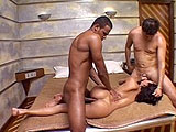 Paola is a sexy little Latina that can't get enough cock.  In this scene, she takes two cocks in her ass at the same time.  One guy gives her a creampie, and the other dumps on her stretched out asshole.