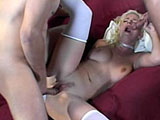 Just when I thought we were out of DP sluts, out of nowhere, I get this cute blonde. She takes both of the guys in her mouth at once before one of the cock's blasts into her asshole without warning. The two dudes give her a brutal DPing before both of them cum on her tongue.