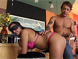This scene starts with a hot, curvy Asian whore in a bikini bent over and blindfolded. Her boyfriend is spanking her ass with a riding crop, but before long, she's draped across his lap, searching for his meat with her mouth. These two are into some light rough stuff, as he tosses her around quite