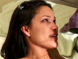 Adrian, a sexy brunette, is taking a hard pounding. Once she's thoroughly soaked the guy's cock in her saliva, the guy drives his beef-bus straight up her cunt, pounding her pussy in a variety of kinky positions.