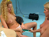 Two sexy blondes are satisfying one another's needs. They stroke and lick each other before the toys come out.