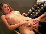 Sunrise Adams is the niece of Sunset Thomas, who is also in the porn biz.  Nothing like keeping up the good family name.  This Texas tramp used to be like roller-girl from the movie Boogie Nights when she was a car hop for Sonic.  In this scene, she gets with a hot brunette in the weight room, where