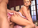 While assisting her boss, a pretty, young secretary in a skimpy skirt decides to climb onto his desk for some in depth sexual harassment training. She leans back and plays coy while he slides her panties down and eats her twat. He spends considerable time fingering her slippery hole and munching on 