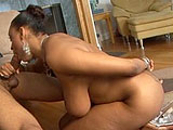In this scene, Carmen Hayes slurps on big black cock, making it sloppy wet.  She also takes care of the twins underneath, sucking and licking them as well.  Carmen is impressed with the taste of the load that she gets spewed on her tongue.
