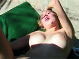 In this scene, Joelani is outside on a chaise, playing with her pussy.  Her costar strolls up and starts eating her out.  He munches away for quite a while before Joelani returns the favor.  She doesn't suck that dick too long before getting it rammed into her pink hole.  Don't expect to see her