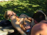 Katie Gold is the featured little slut for this scene.  She is outside with her costar, and he just can't get enough of eating that pussy, digging his tongue deep into her gash.  She returns the favor with a nice beejer, and the two fuck in a few positions, taking breaks for the guy to eat some mo