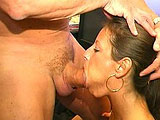 Liza Harper is a French whore trying to learn how to deep throat big cock without gagging.  She practices on a banana at first but doesnt do too well.  She decides to try the real thing to see if she can do any better.  The guy coaches her along and Liza does better, but never quite gets that mea