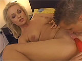 This sexy little Euro slut gets with her man on the bed.  She sucks his cock and then masturbates for him.  He cant resist and dives in to get a taste of her sweet pussy.  They fuck on the bed and this whore gets a messy facial to enjoy.