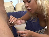 Jamie Brooks likes her some cock.  She really likes to dip cock in milk and suck on it.  Her shaved slit is pounded hard and filled with a creamy load.  Jaime pushes out the load into her martini glass and drinks it down.
