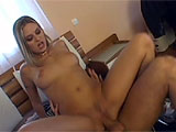 In this scene, Victoria Swinger takes her man upstairs to the bedroom for some fun.  They exchange oral and she gets her neatly trimmed vag pounded hard.  Victoria takes a creamy load to her tongue in the end.