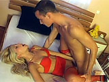 This Hungarian hottie goes by Jenny Sanders.  Watch her get with her costar on the bed, sucking his cock and having him pound her bald pussy until blasting his load all over her perky tits.  Jenny rubs that jizz into her tits like it is her favorite lotion.
