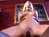 Staci Thorn beckons her big black stunt cock over and immediately drops to her knees to suck on his monster cock and nut sack.  She fucks him with her big tits and then gives up her bald, pink pussy.  This whore rides it in her tight, white ass and screams out as this massive tool is rammed in deep.