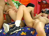 Heidi and Sasha are two sexy young things playing around with a guy and a camera in the bedroom.  They share sucking his cock and then take turns getting pounded.  One girl takes it in the ass and then gets the guy's load dumped on her face while the other girl records it.  Now the girls switch so