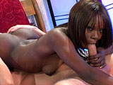 Ashley Brooks is an ebony beauty teasing on a bed.  She masturbates until a white guy comes in to fuck her.  She slurps on his cock and the do some 69 first, but then she mounts up for a hard reverse cowgirl fucking.  Ashley also takes cock in the ass and sucks her juices off it in between position