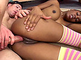 Normally its the other way around, but this black hottie cant wait to get a long, hard taste of white meat. She models her bikini for a producer and he likes what he sees. She strips to show him her perky, perfect tits and bald, chocolatey twat and it looks so sweet, he has to have a taste. Li