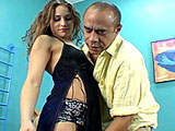 Brandi says shes never fucked a black guy before, and at 19 years old, she cant wait to try it out. A bald, older looking black gent enters the room and forcibly takes her, putting his face between her firm thighs and eating her pussy. He gets her super excited for the big black rod shes be