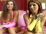 Two horny ladies are dressed in super bright slut wear, and are eager to meet the guys that are about to bone them rotten. When the guys arrive, these gals get to work on their dicks, jacking and sucking and then stripping off their vibrant lingerie. There's a lot of loud moaning during this group