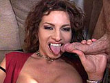 Sinful Cynthia starts this scene with a cock in her mouth, but as the camera pans down, you see what she's smiling about. A guy is also eating her snatch. Soon there are three guys, two occupying Cynthia's hungry mouth and the other drilling her slippery, hairy twat. She tells him to keep fuckin