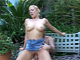 Cameron Cain is outside with her man, making out on a bench.  He licks her pussy while fingering her asshole, and then she gets to work sucking his cock.  They fuck on the bench in a few positions and Cameron takes his goo on her face.