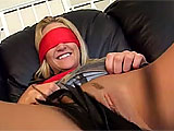 This scene starts with Alexis Malone blindfolded and getting her pussy whipped with a riding crop.  A guy comes in and eats her out, and then she gives a sloppy blowjob.  They fuck on the couch until Alexis gets a gooey load dumped in her pussy.  She takes a second load in her mouth that she spits o