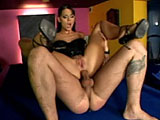 Simony Diamond is back, and she's teasing us with her sexy body in the pool room.  A guy comes in and puts her up on the table so he can really get at her juicy pussy.  He bends her over the table to fuck her and eat her ass before they get completely up on the table to play their own style of ""