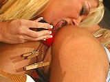 Two hot blondes, Layla Jade and Jenni Lovett, are getting buck wild with each other in the bathroom. The girls are wearing two very revealing outfits, but they don't stay on for long. After a lot of licking and finger banging on each other, out come the sex toys.