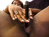 A black chick smokes a big fat cigar with her pussy.  She gives a blowjob and fucks an older white gentleman.  Watch her booty jiggle.