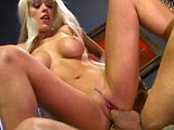 Layle Jade, a hot euro blonde, is getting fucked real hard by some guy's big dick.  She gives a super enthusiastic blowjob before getting her pussy and ass beat up.  After getting fucked really good, she sucks this guy cock dry of his man jizz.