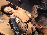 Malorie Marx, a sensational brunette, has got her nice mouth wrapped around a large cock.  After getting the guys cock dripping wet with her spit, she then takes a good long fucking from the guys big member.