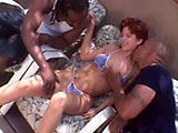 This guy kicks back and watces as his wife gets fucked by two big dick black dudes. She gives both guy's a hot dual BJ before getting fucked and DP.