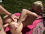 A hot Euro blonde is getting fucked good and hard outside.  She gives this dude's big schlong a sloppy BJ before getting her cute cunt stuffed full of cock.
