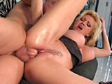 Rubee Tuesday, a hot big tittied blonde milf, wants to encourage her son's friend to go off to school.  So, she decides to fuck him if he will promise to goto college.  He gives her a huge facial at the end!